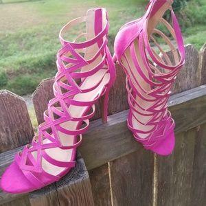 Womens Fuchsia strappy zipper heels pink pumps